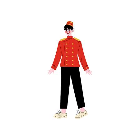 Illustration pour Concierge or Porter, Hotel Staff Character in Red Uniform Vector Illustration - image libre de droit