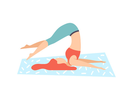 Illustration pour Girl in Plow Pose, Young Woman Practicing Yoga, Physical Workout Training Vector Illustration on White Background. - image libre de droit