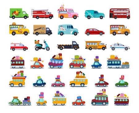 Ilustración de Cute City Transport Set, Colorful Childish Cars and Vehicles Vector Illustration on White Background. - Imagen libre de derechos