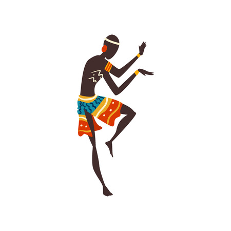 Illustration for Young African Man Dancing, Aboriginal Dancer in Bright Ornamented Ethnic Clothing Vector Illustration on White Background. - Royalty Free Image