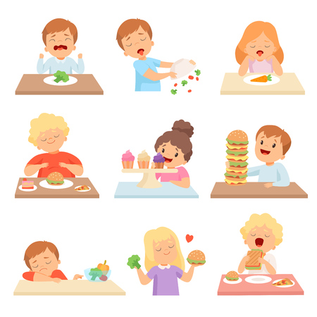 Kids Do Not Like Vegetables Set, Cute Boys and Girls Enjoying Eating of Fast Food and Sweets Vector Illustration on White Background.