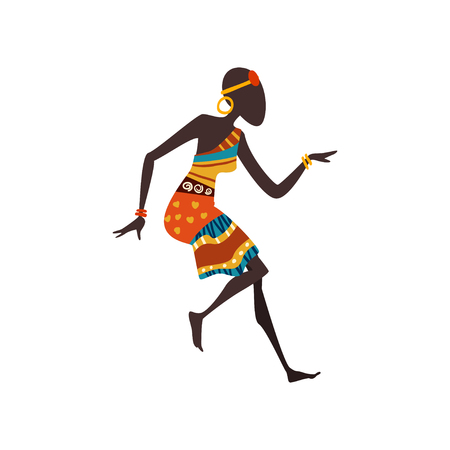 Female Aboriginal Dancer in Traditional Ethnic Clothing, Beautiful African Woman Dancing Vector Illustration on White Background.