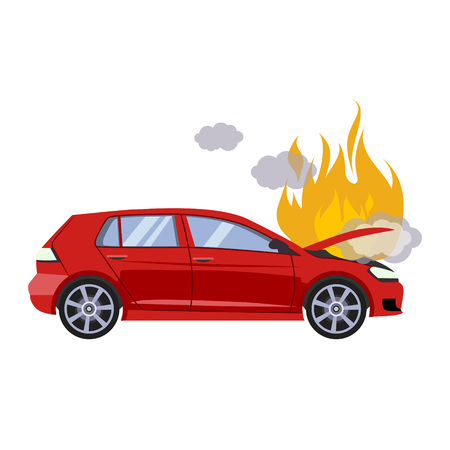 Illustration pour The broken hood of the red car is covered with fire and smoke. Flat style vector illustration isolated on gray background. - image libre de droit
