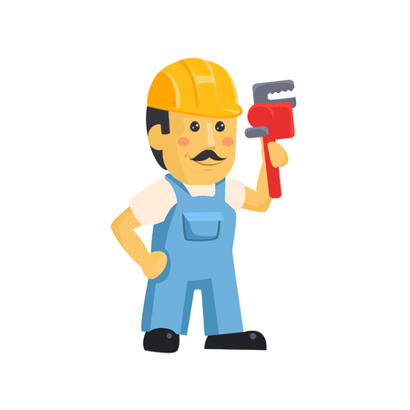 Illustration for Vector clipart picture of a male mechanic cartoon character holding a huge wrench - Royalty Free Image