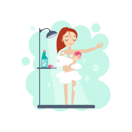 Illustration pour Taking a Shower. Daily Routine Activities of Women. Colourful Vector Illustration - image libre de droit