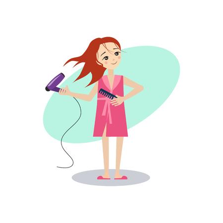 Drying Hair. Daily Routine Activities of Women. Colourful Vector Illustration