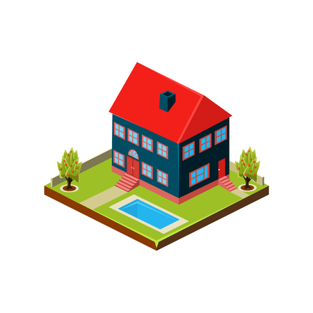 Illustration pour Isometric icon representing modern house with backyard vector - image libre de droit
