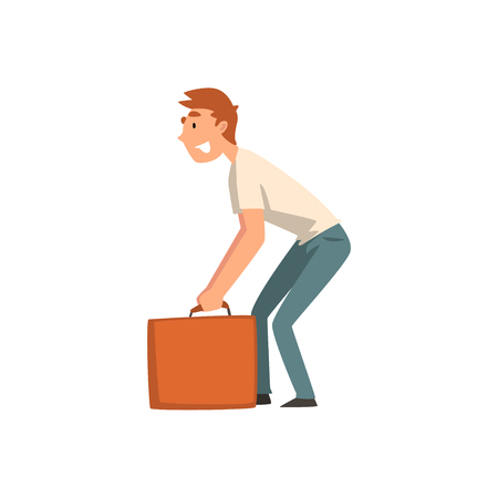 Illustration for Young Man Carrying Heavy Suitcase, Guy Traveling on Vacation Vector Illustration on White Background. - Royalty Free Image