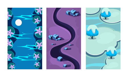 Illustration pour Collection of 3 colorful backgrounds for online mobile game. Cartoon scenes with blue river, dark path and ice islands. Vertical landscape illustrations. Gaming interface. Isolated flat vector design. - image libre de droit