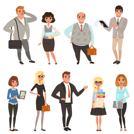 Illustration for Cartoon set of office managers and workers in different situations. Business people. Men and women characters in casual clothes. Colorful vector illustration in flat style isolated on white background - Royalty Free Image
