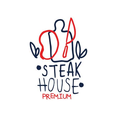 Illustration pour Premium steak house template, vintage label colorful hand drawn vector Illustration - image libre de droit