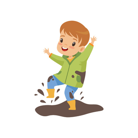 Illustration for Cute Boy Jumping in Dirt, Naughty Kid, Bad Child Behavior Vector Illustration on White Background. - Royalty Free Image