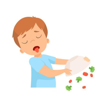 Illustration pour Little Boy Refusing to Eat Vegetables, Kid Does Not Like Healthy Food Vector Illustration on White Background. - image libre de droit