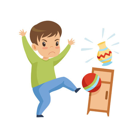 Cute Naughty Boy Playing with Ball at Home, Bad Child Behavior Vector Illustration on White Background.