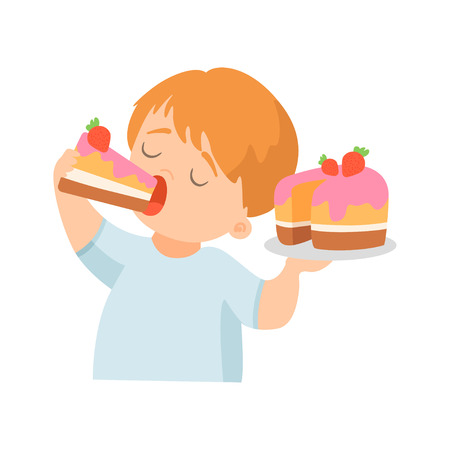 Illustration pour Cute Little Boy Eating Creamy Cake with Strawberry Vector Illustration on White Background. - image libre de droit