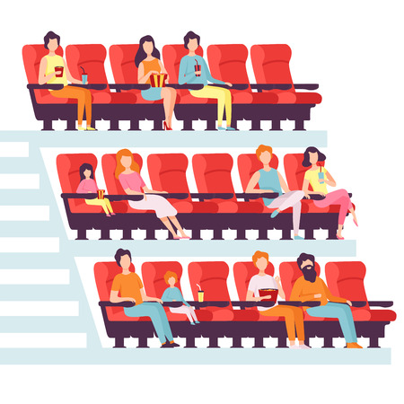 Illustration pour People Sitting in Cinema Hall, Men and Women Watching Film, Eating Popcorn and Drinking Soda in Movie Theater Vector Illustration on White Background. - image libre de droit