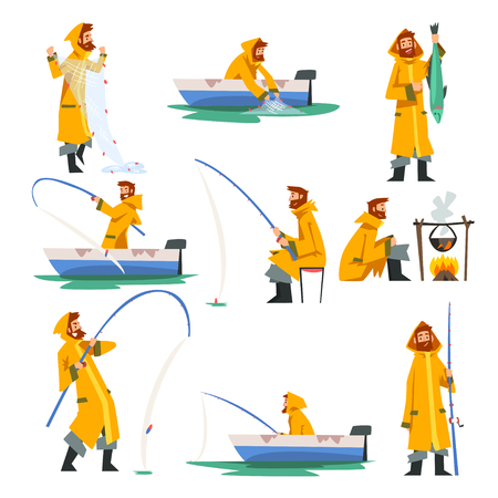 Ilustración de Fisherman Fishing with Net and Fishing Rod in Boat, Man Cooking on Bonfire Vector Illustration on White Background. - Imagen libre de derechos