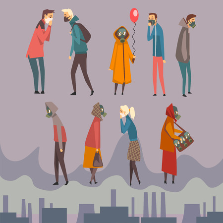 Illustration pour Unhappy Men, Women and Children Wearing Protective Masks Walking in City, People Suffering from Air Pollution, Industrial Smog Vector Illustration in Flat Style - image libre de droit