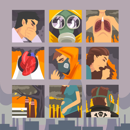 Illustration pour People Suffering from Industrial Smog, Diseases aused By Air Pollution Vector Illustration - image libre de droit
