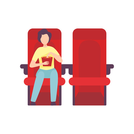 Illustration pour Young Man Sitting in Cinema Theatre with Popcorn and Watching Movie, Guy Looking at Projection Screen in Cinema Hall Vector Illustration on White Background. - image libre de droit