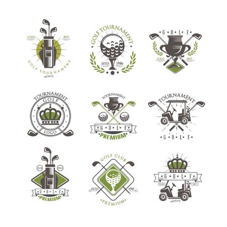 Illustration pour Golf tournament logo set, vintage labels for golf championship, sport club, business card vector Illustration on a white background - image libre de droit