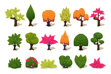 Illustration pour Colorful fantasy tree and plants, nature details for computers game interface vector Illustrations isolated on a white background. - image libre de droit