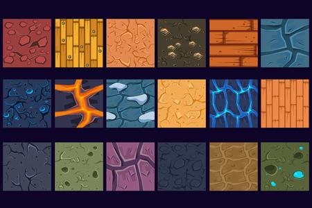 Ilustración de Ground concrete stone texture patterns set vector Illustrations, web design - Imagen libre de derechos