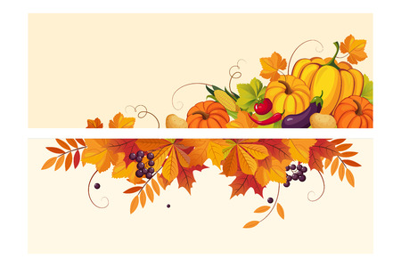 Illustration for Thanksgiving background with space for text, horizontal banners with autumn leaves and vegetables vector Illustration, web design - Royalty Free Image