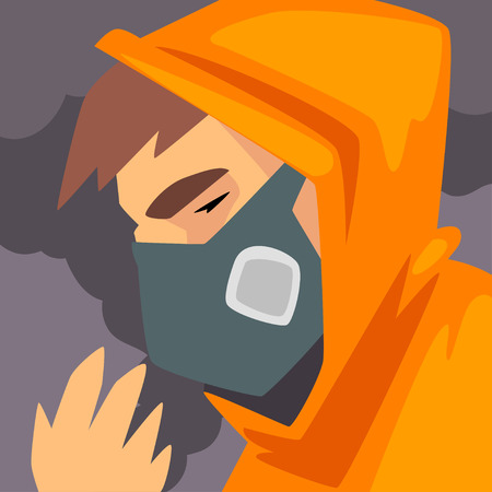 Illustration pour Man Wearing Protective Face Mask, People Suffering from Fine Dust, Industrial Smog, Industry Air Pollution, Vector Illustration - image libre de droit