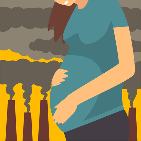 Illustration pour Pregnant Woman Suffering from Fine Dust, Industrial Smog, Environmental Air Pollution, Woman on Background of Industrial Landscape and Clouds of Smoke Vector Illustration - image libre de droit