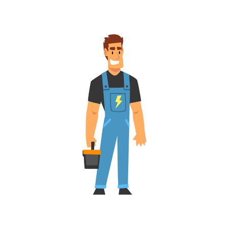 Illustration pour Smiling Professional Electrician with Toolbox, Electric Man Character in Blue Overalls at Work Vector Illustration on White Background. - image libre de droit