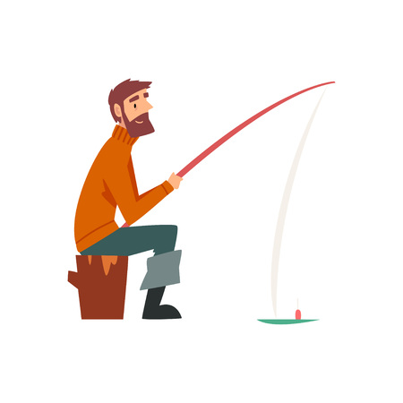 Illustration pour Bearded Fisherman Character Sitting on Shore with Fishing Rod Vector Illustration on White Background. - image libre de droit