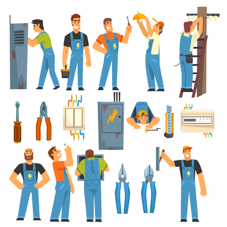 Illustration pour Electrician Engineers with Professional Electrician Tools Set, Electric Men Characters in Blue Overalls at Work Vector Illustration on White Background. - image libre de droit