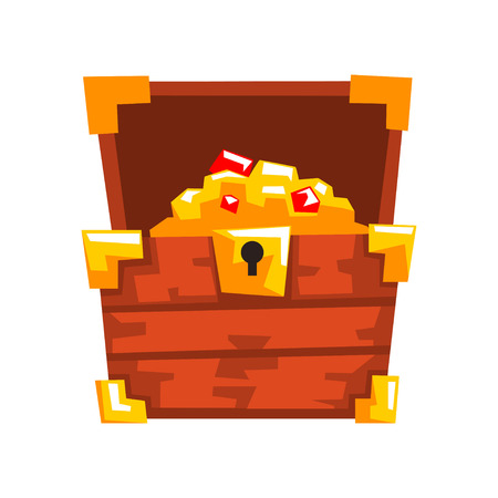 Illustration pour Opened wooden chest with treasures full of golden coins and jewels vector Illustration isolated on a white background. - image libre de droit