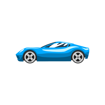 Illustration for Blue sports racing car, supercar, side view vector Illustration isolated on a white background. - Royalty Free Image