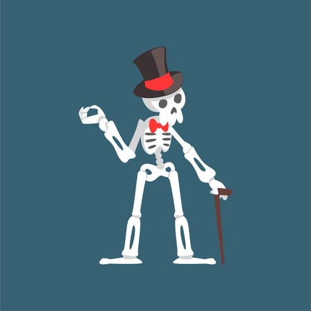 Illustration pour Skeleton Gentleman Weaing Top Hat and Bow Tie Standing with Walking Stick, Funny Dead Man Cartoon Character Vector Illustration on Dark Background. - image libre de droit