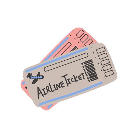Ilustración de Two Airline Tickets, Boarding Pass, Travel Sign Symbol Vector Illustration on White Background. - Imagen libre de derechos