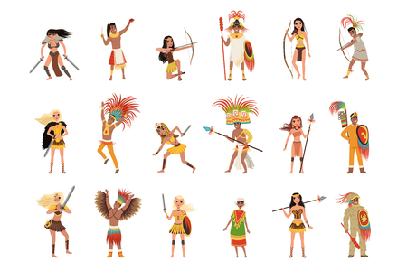 Illustration pour Aztec warriors set, men in traditional clothes and headgear with weapon vector Illustrations isolated on a white background. - image libre de droit