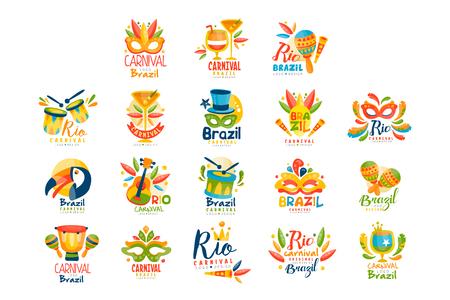 Illustration pour Brazilian Carnival logo design set, bright fest.ive party banners vector Illustration on a white background - image libre de droit