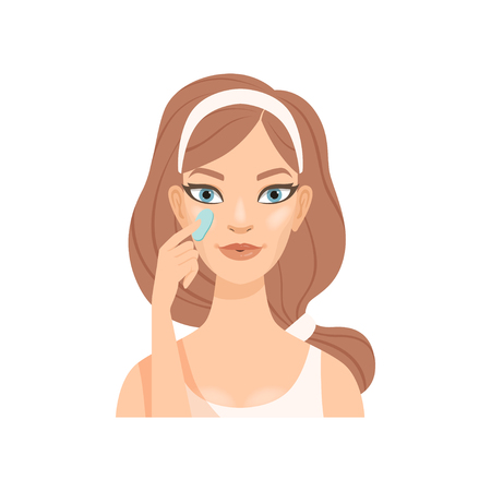 Illustration pour Attractive young woman applying cream or gel on her face, girl caring for her face and skin, facial treatment procedure, vector Illustration - image libre de droit