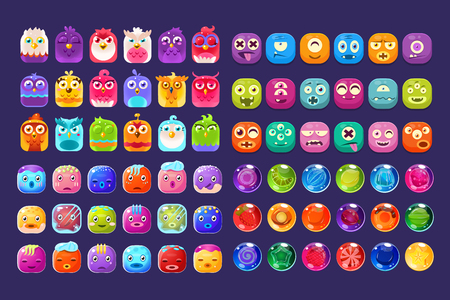 Illustration pour Collection of colorful glossy figures of different shapes, user interface assets for mobile apps or video games vector Illustration, web design - image libre de droit