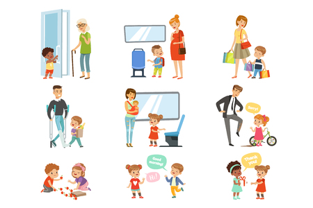 Illustration pour Kids good manners set, polite children helping adults, giving way to transport, thanking each other vector Illustrations isolated on a white background. - image libre de droit