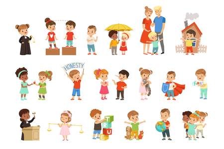 Illustration pour Cute little children protecting their family, friends, animals and the planet set vector Illustrations isolated on a white background. - image libre de droit