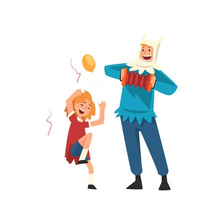 Ilustración de Happy Girl Having Fun with Animator at Birthday Party, Entertainer in Festive Costume Playing Accordion Vector Illustration on White Background. - Imagen libre de derechos