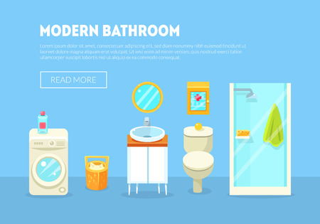 Illustration pour Modern Bathroom Interior Banner Template with Furniture and Accessories Vector Illustration, Flat Style - image libre de droit
