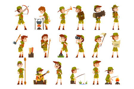 Illustration pour Scouting boys set, boy scouts with hiking equipment, summer camp activities vector Illustrations isolated on a white background. - image libre de droit