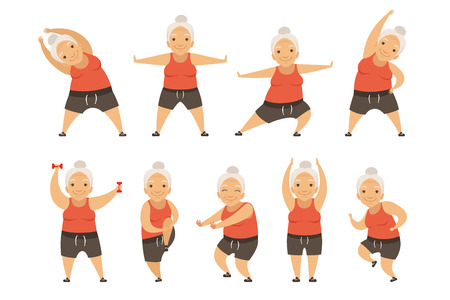 Ilustración de Senior woman doing morning exercises, active and healthy lifestyle of retired people vector Illustration isolated on a white background. - Imagen libre de derechos