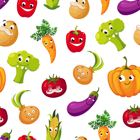 Illustration pour Cute Funny Vegetables Seamless Pattern, Potato, Broccoli, Tomato, Eggplant, Pumpkin, Corn, Carrot Characters with Funny Faces Vector Illustration on White Background. - image libre de droit
