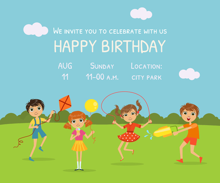 Illustration pour Happy Birthday Invitation Card with Cute Little Kids in Nature Background and Place for Your Text Vector Illustration - image libre de droit