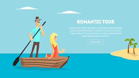Romantic Tour, Love Couple Travel Together, Happy Young Man and Woman Dating on Boat on Tropical Resort Vector Illustration